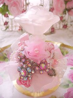 Romantic Pink Rose Bejeweled Perfume Bottle http://www.crystalsrosecottagechic.com