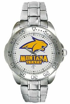 Montana State University Bobcats Mens Sports Steel Watch by SunTime. $49.95