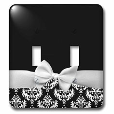 3dRose LLC lsp_56659_2 Elegant and Classy White Ribbon Bow with White Damask Pattern and Classic Black Background Double Toggle Switch *** Read more  at the image link.
