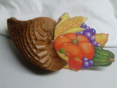 Vintage Honey Comb Horn of Plenty Die Cut Thanksgivings Decor