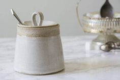 Ceramic Lidded Container, Gift for Woman, Kitchen Gift Idea, Rustic White Pottery, Sugar Bowl, Pottery Jar, Ceramic Sugar Jar