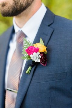 pink, yellow and burgundy floral fern boutonnière - photo by Rachel Havel Photography