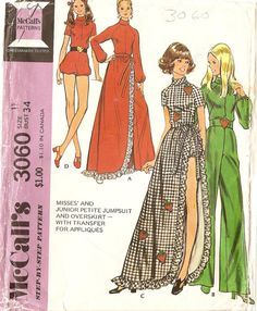 1970s Womens Jumpsuit Playsuit Pattern with long by CherryCorners, $8.00