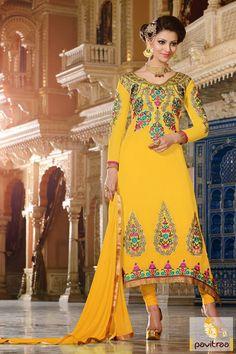 Pavitraa Yellow Embroidery Salwar Kameez Rs 2324.7  #pakistanisalwarsuits #salwarsuits #onlinesalwarsuits