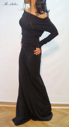 Long Sleeve Maxi Dress/Casual Evening Elegant Dress/ Sexy Women Party Dress/ Extravagant Dress/ Dress With Open Shoulders/ F1285