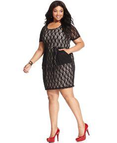 Trixxi Plus Size Dress, Short-Sleeve Lace - Plus Size Dresses - Plus Sizes - Macy's