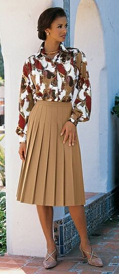 Pleated skirt and blouse