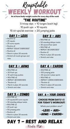 Repeatable Weekly Workout - Kiwi's Plan