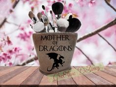 Mother of Dragons, Glitter Makeup Jar, Brush Holder, Glitter Candle Jar, Catch-All for Jewelry, Dragon Lover, Gift for Mom, Game of Thrones