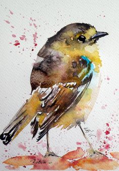 ARTFINDER: Robin by Kovács Anna Brigitta - Original watercolour painting on high quality watercolour paper. I love landscapes, still life, nature and wildlife, lights and shadows, colorful sight. Thes...