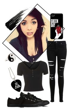 """Black Emo Outfit"" by taylor-kennedy-i ❤ liked on Polyvore featuring Topshop, Miss Selfridge, Accessorize, Urban Decay and Converse"