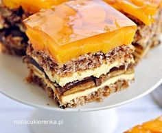 Słoneczna Delicja - Christmas cake with delicates, peaches - MC Cupcake Recipes, Baking Recipes, Cupcake Cakes, Dessert Recipes, Polish Desserts, Polish Recipes, Traditional Cakes, Different Cakes, Russian Recipes
