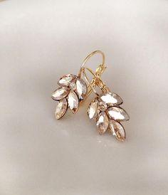 Champagne earrings Swarovski crystal leaf earrings gold | Etsy