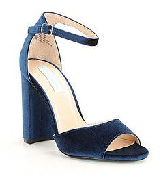 e952d5cbe Blue by Betsey Johnson Carly Velvet Block Heel Dress Sandals  Dillards Blue  By Betsey Johnson