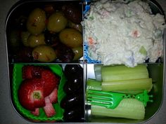 Adult Snack Bento -spicy olives -tuna salad -strawberries -chocolate covered almonds -celery
