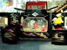 Japanese Black Lacquer Geisha Dancer lighted musical jewelry box Sukiyaki Song…