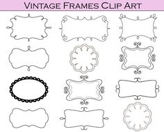 Clipart Frames- print on colored cardstock for cute labels