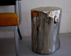 Chromed Wood Stump side table