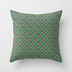 This retro styled pattern is jam packed with color and flair. Throw Pillow.