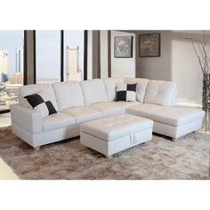 Rich and straightforward, this classic sectional will add a bit of comfort and class to your home. The sectional features a luscious white faux leather upholstery that is comfortable and attractive. The ottoman includes a storage compartment.