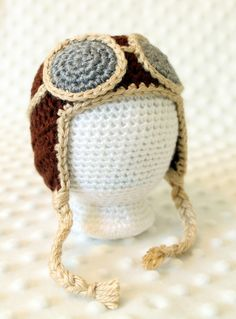 Crochet Newborn Aviator Hat, Free Pattern- wish I had known about this pattern before the baby was born