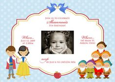 Snow White Inspired Photo Birthday Invitation