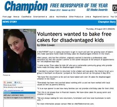Champion: Volunteers wanted to bake free cakes for disadvantaged kids (29/08/2013)