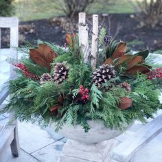 Grapevine Garland, Boxwood Garland, Porch Column Wraps, Winter Container Gardening, Holiday Wreaths, Holiday Decor, Fir Christmas Tree, Birch Branches, Stone Planters