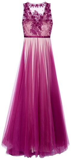 Catherine Deane Purple Magenta Prarie Embroidered Gown