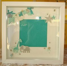KW-Eselsohr: Frame for Baby Picture IKEA Frame, Stampin'Up! Stamp Sets: banner blast, hearts a flutter, zoo babies, simply stars, gorgeous grunge