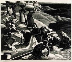 Clare Leighton United States (born England, 1899-1990)  Corsica Washerwoman, 1934  Wood engraving    The Prairie Print Makers Collection