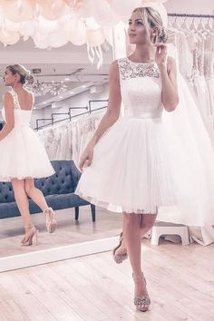 white short wedding dresses, simple lace homecoming dresses, cheap a line wedding dresses dressywomen bridal gowns weddingideas 221169031687241561 Fairy Wedding Dress, Cute Wedding Dress, White Wedding Dresses, Bridal Dresses, Wedding White, Knee Length Wedding Dresses, Wedding Dresses Simple Short, Gown Wedding, Short White Dresses