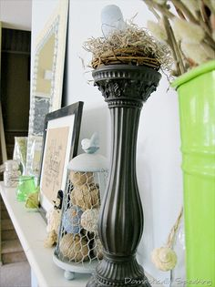 Spring Mantel ~ apple green, twine eggs, bird nests