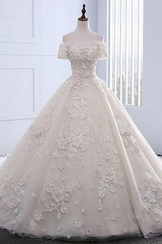 Sweet 16 Dresses   Ivory strapless sweep train off shoulder lace wedding dress with sleeves