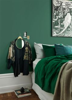 Mirror hanging over embroidered antique blouse jacket. Forest Green Bedrooms, Green Bedroom Walls, Peacock Blue Bedroom, Sage Green Walls, Accent Wall Bedroom, Paint Color Pallets, Small Bedroom Designs, Condo Decorating, Bedroom Color Schemes