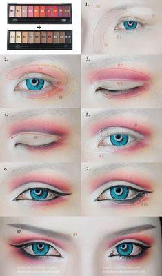 Cosplay Eyes Make-up von Mollyeberwein auf DeviantArt - schminken Anime Eye Makeup, Anime Cosplay Makeup, Makeup Art, Makeup Drawing, Geisha Makeup, Makeup Inspo, Makeup Inspiration, Makeup Tips, Makeup Ideas