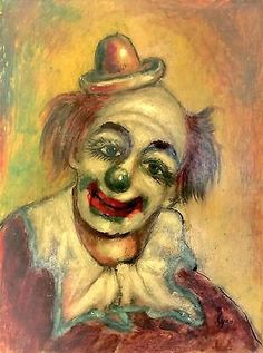 Antique Vintage Clown Signed Oil Painting on Panel 12 x 16 ""