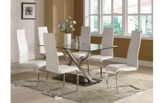 Modern Dining 7 Piece XY Table and White Upholstered Chairs Set