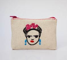Frida Kahlo / Pouch / coinpurse  / hand embroidered pouch linen pouch coin pouch zipper pouch ecofriendly purse by NIARMENA on Etsy https://www.etsy.com/listing/260001912/frida-kahlo-pouch-coinpurse-hand