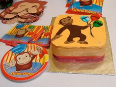Curious George Cake. Buttercream with fondant George for a curious George Birthday party.