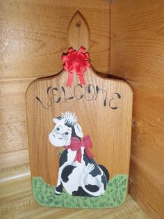 Welcome Cute Dairy Cow Country Hand Painted Wooden Wall Plaque Shabby Farm Decor #Country