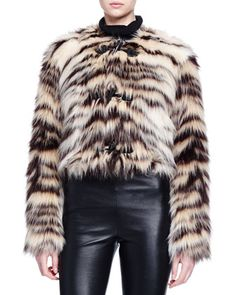 Zebra-Striped Faux-Fur Toggle Jacket by Lanvin at Neiman Marcus.
