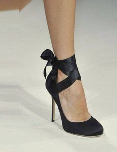 Black ribbon heels