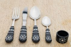 Unisex Utensils Cutlery Set Black Gray Spoon Fork Knife Dessert Spoon Napkin Ring Unique Gift Polymer clay Serving Set. Beautiful