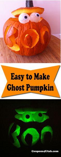 Pumpkin Carving Idea: Ghost Pumpkin #Pumpkin #Halloween