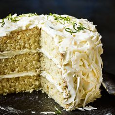 Lime and coconut triple layer cake - Sainsbury's Magazine