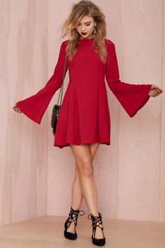 Bell Raiser Crepe Dress - Day | Going Out | Fit-n-Flare | Solid | Dresses | Clothes | All