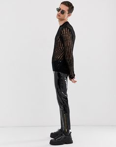 Buy ASOS DESIGN knitted mesh jumper in black at ASOS. With free delivery and return options (Ts&Cs apply), online shopping has never been so easy. Get the latest trends with ASOS now. Asos, Pullover, Skin Tight, Fashion Online, Jumper, Leather Pants, Punk, Suits, Sweaters