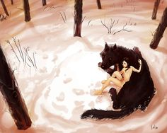 Wolf and girl by LolosArt on deviantART