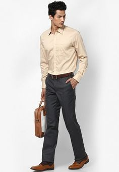 Beige formal shirt with Gray trouser
